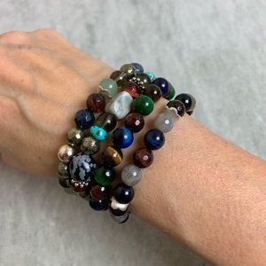 Multi Stone Stretch Bracelet Stack